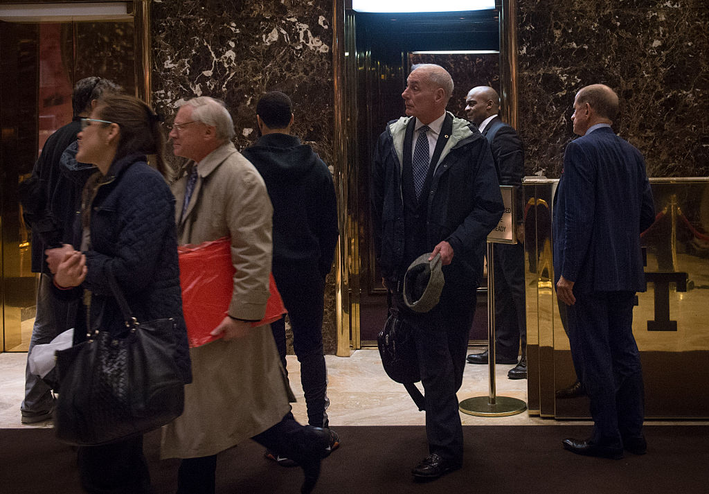 US Marine Corps. Gen. John Kelly walks off the elevator in the lobby of Trump Tower in New York on Nov. 30, 2016. (BRYAN R. SMITH/AFP/Getty Images)