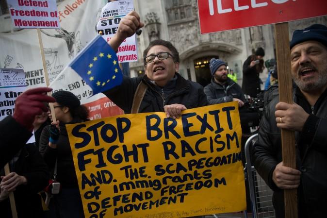 Anti-Brexit demonstrators outside the Supreme court building in London on Dec. 5. (DANIEL LEAL-OLIVAS/AFP/Getty Images)