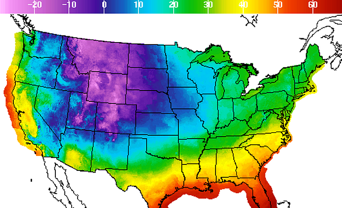 The dewpoint temperature forecast in the early morning on Dec. 8. (NOAA)