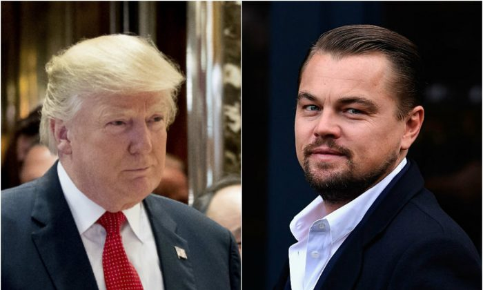 President-elect Donald Trump speaks to reporters at Trump Tower in New York City on Dec. 6, 2016; Hollywood actor Leonardo DiCaprio arrives at Home restaurant during his first visit in Edinburgh, Scotland on Nov. 17, 2016. (Drew Angerer/Getty Images; Jeff J Mitchell/Getty Images)
