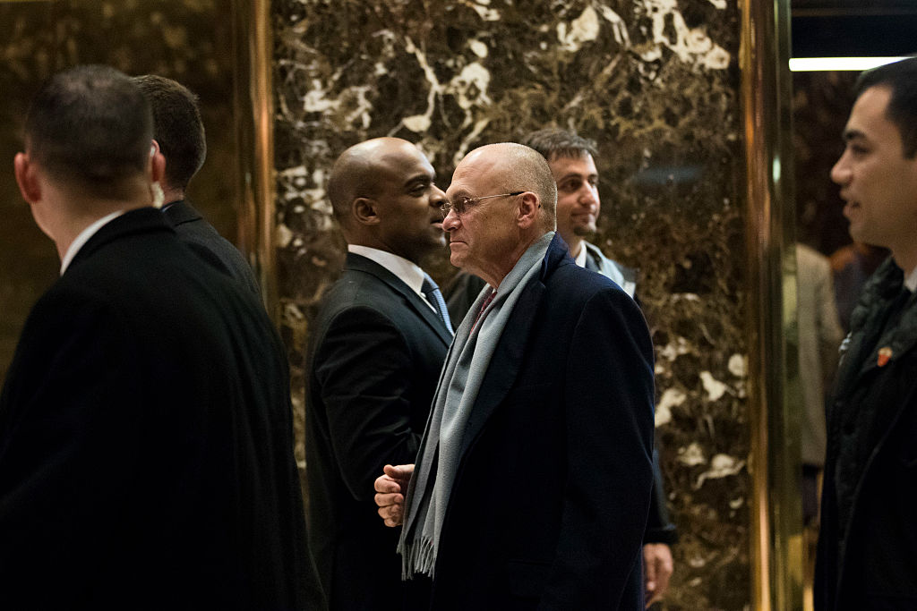 CEO of CKE Restaurants Andy Puzder (C) departs Trump Tower, in New York City ON Dec. 7, 2016. (Drew Angerer/Getty Images)
