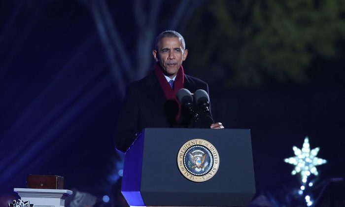 President Barack Obama speaks during the National Christmas Tree lighting ceremony, on December 1, 2016 in Washington, DC. This year is the 94th annual National Christmas Tree Lighting Ceremony. (Mark Wilson/Getty Images)