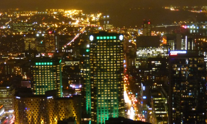 Montreal City Night view from the Observation Deck on the 46th floor. (Barbara Angelakis)