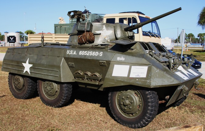 The 1943 M-8 Greyhound scout car was used by the U.S. in WWII and Korea, and after that by many countries and police forces around the world. (Chris Jasurek/Epoch Times)