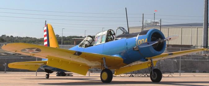 1942 Vultee BT-15 Valiants like this one were  used to train pilots. (Chris Jasurek/Epoch Times)
