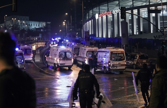 Rescue services and ambulances rush to the scene of explosions near the Besiktas football club stadium after attacks in Istanbul, on Dec. 10, 2016. (AP Photo/Halit Onur Sandal)