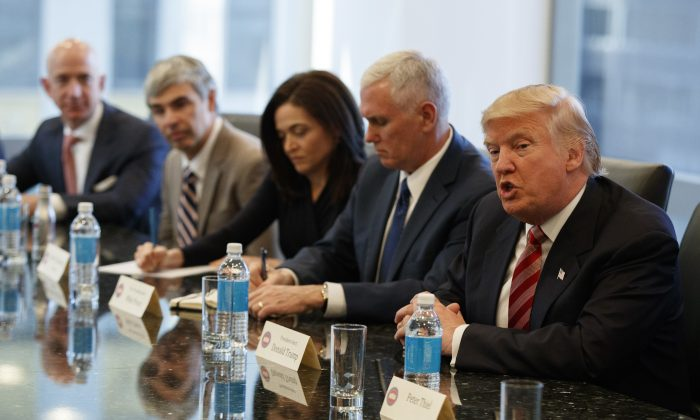 President-elect Donald Trump during a meeting with technology industry leaders at Trump Tower in New York, on Dec. 14, 2016. (AP Photo/Evan Vucci)
