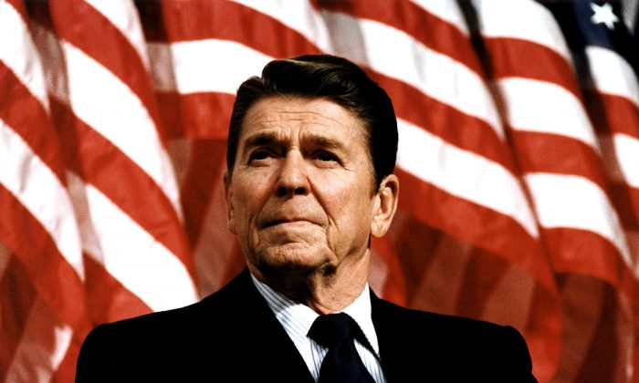 Former U.S. President Ronald Reagan speaks at a rally for Senator Durenberger on Feb. 8, 1982. (Michael Evans/The White House/Getty Images)