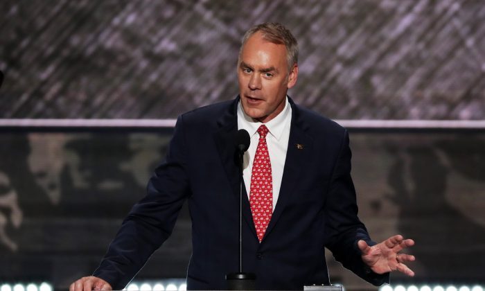 U.S. Representative Ryan Zinke delivers a speech on the first day of the Republican National Convention at the Quicken Loans Arena in Cleveland, OH., on July 18, 2016. (Alex Wong/Getty Images)