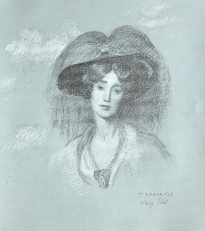 """Lady Peel, after Sir Thomas Lawrence,"" 2016, sketch by Patricia Watwood. (Courtesy of Patricia Watwood)"
