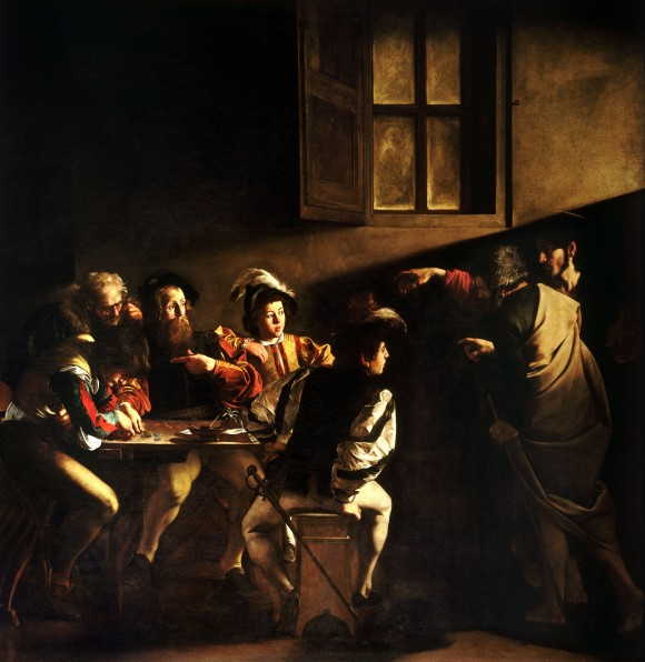 A photographic reproduction of The Calling of Saint Matthew by Michelangelo Merisi da Caravaggio completed in 1599–1600. (Public Domain)