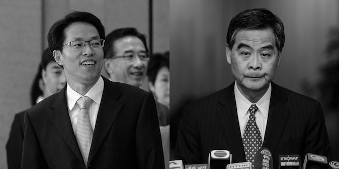 (L-R) China Liaison Office director Zhang Xiaoming and Hong Kong Chief Executive Leung Chun-ying. (Philippe Lopez/AFP/Getty Images; Anthony Wallace/AFP/Getty Images)