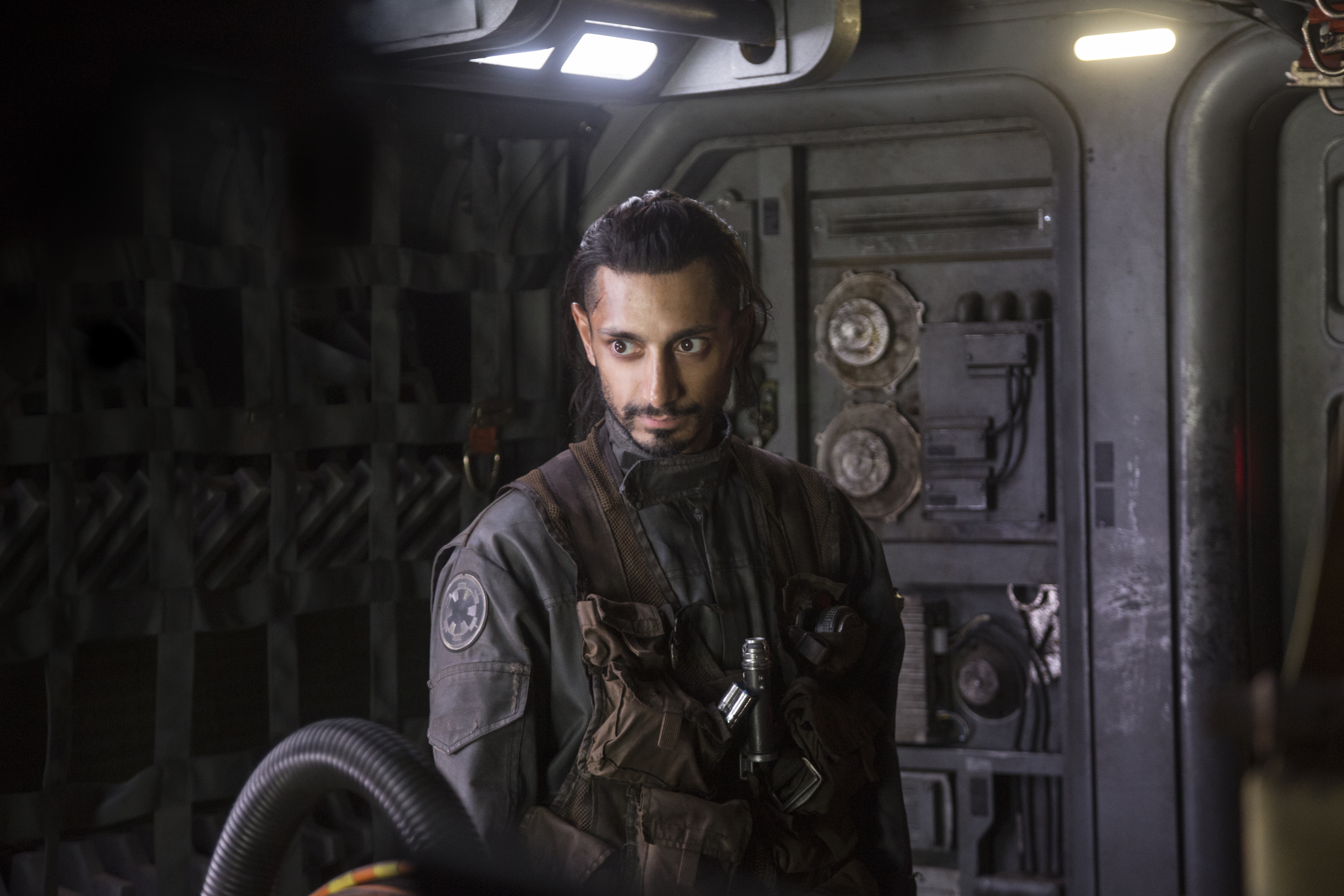 """This image released by Lucasfilm Ltd. shows Riz Ahmed as Bodhi Rook in a scene from, """"Rogue One: A Star Wars Story."""" (Jonathan Olley/Lucasfilm Ltd. via AP)"""