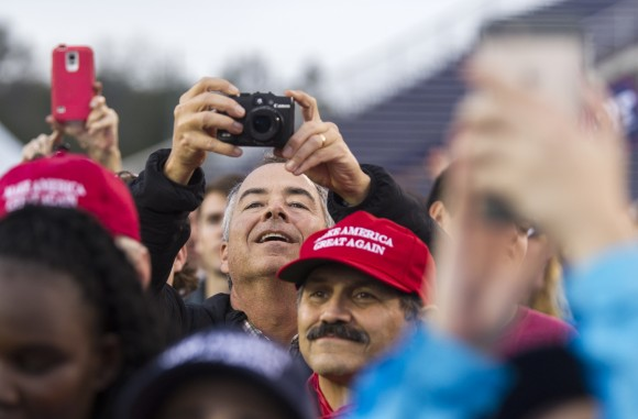 MOBILE, AL - DECEMBER 17:  Supporters take photos as president-elect Donald Trump speaks during a thank you rally in Ladd-Peebles Stadium in Mobile, Alabama on Dec. 17, 2016. President-elect Trump has been visiting several states that he won, to thank people for their support during the U.S. election. (Mark Wallheiser/Getty Images)