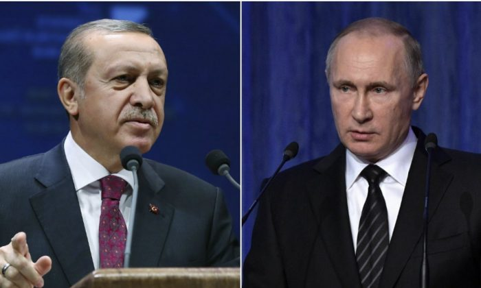 (L-R) Turkey's President Recep Tayyip Erdogan and Russian President Vladimir Putin. (Kayhan Ozer, Presidential Press Service/Pool photo--Alexei Nikolsky, Sputnik, Kremlin Pool Photo via AP)