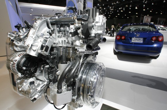 In this file photo, a Volkswagen Jetta TDI diesel engine is displayed at the Los Angeles Auto Show. (AP Photo/Damian Dovarganes, File)