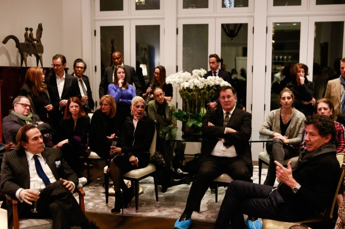 Oz Garcia (R) speaks at Royce Pinkwater's Champagne reception with Couri Hay on Nov. 10, 2016. (Courtesy of Oz Garcia)