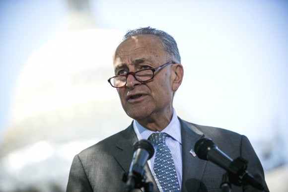 Incoming Senate Minority Leader Sen. Chuck Schumer stands outside the Capitol on June 9. Since the 2010 election, Democrats have suffered significant losses. (Gabriella Demczuk/Getty Images)