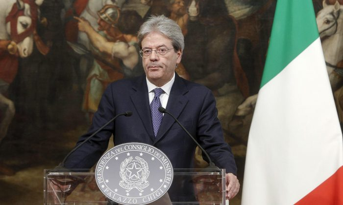 Italian Premier Paolo Gentiloni gives a press conference on the killing in Italy of suspected attacker at the Berlin Christmas market, during a press conference at Chigi Palace in Rome, Italy on Dec. 23, 2016. (Giuseppe Lami/ANSA via AP)