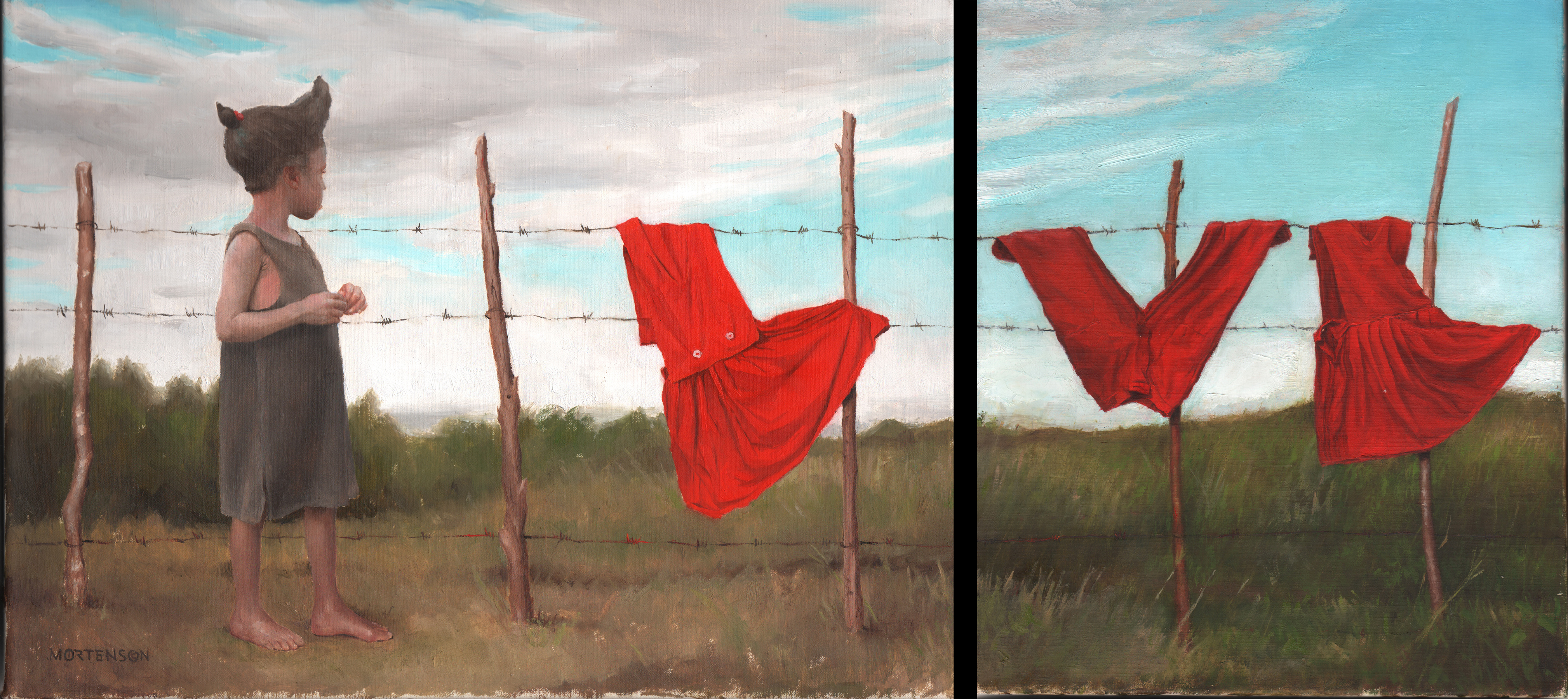 """""""School Laundry,"""" 2015, by Gregory Mortenson (b. 1976). Oil on linen, 12 by 16 and 12 by 10 inches. (Courtesy of Gregory Mortenson)"""