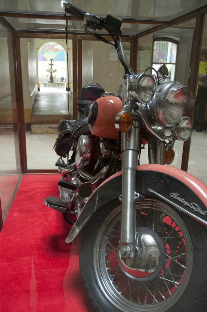The Harley-Davidson owned by the infamous Pablo Escobar at the National Police Museum in Bogotá. (Carole Jobin)