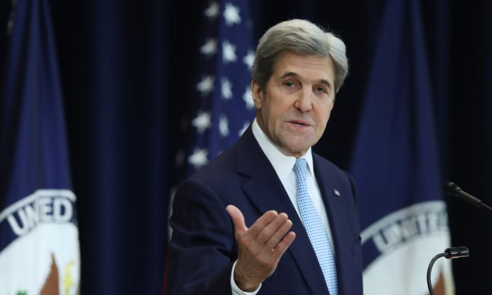Secretary of State John Kerry speaks about Israeli-Palestinian policy, , at the State Department in Washington on Dec. 28, 2016. (AP Photo/Andrew Harnik)