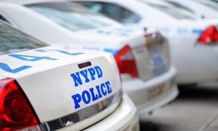 Row of NYPD police cars. (Maria Sbytova/Shutterstock)