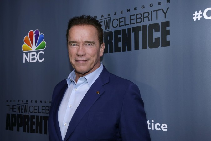 """Arnold Schwarzenegger, the new boss of """"The New Celebrity Apprentice,"""" at a press junket in Universal City, Calif. (Paul Drinkwater/NBC via AP)"""