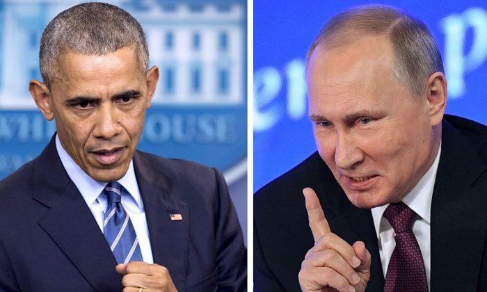 US President Barack Obama speaking at the White House in Washington, DC on Dec. 16, 2016; Vladimir Putin speaking in Moscow on Dec. 23, 2016. (SAUL LOEB,NATALIA KOLESNIKOVA/AFP/Getty Images)