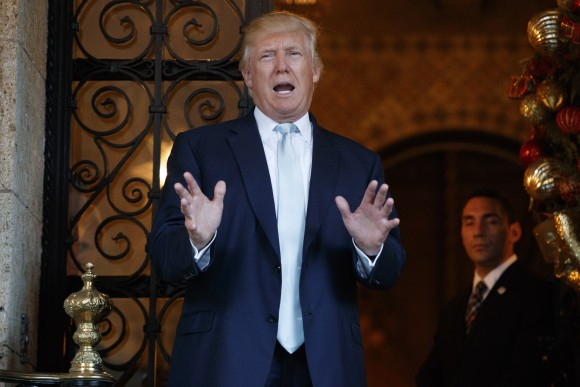 President-elect Donald Trump speaks to reporters at Mar-a-Lago, in in Palm Beach, Fla., on Dec. 28, 2016. (AP Photo/Evan Vucci)