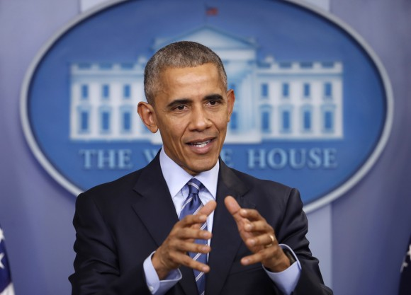 President Barack Obama speaks during a news conference in the briefing room of the White House in Washington, on Dec. 16, 2016. (AP Photo/Pablo Martinez Monsivais)