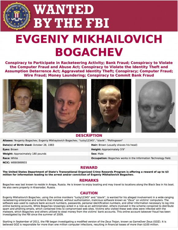 Wanted poster for Evgeniy Bogachev. In a sweeping response to election hacking, President Barack Obama sanctioned Russian intelligence services and their top officials, kicked out 35 Russian officials and shuttered two Russian-owned compounds in the U.S. (FBI via AP)