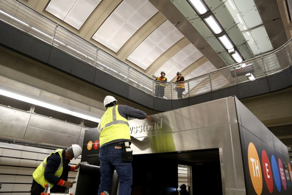 Workers put the finishing touches on the new 86th Street subway station on the new Second Avenue line in New York on  Dec. 22, 2016. (AP Photo/Seth Wenig)