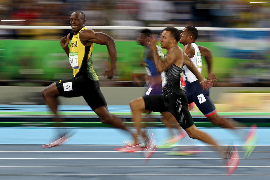 Usain Bolt of Jamaica competes in the Men's 100 meter semifinal, in which he won gold, at the Rio 2016 Olympic Games in Rio de Janeiro on Aug. 14. (Cameron Spencer/Getty Images)