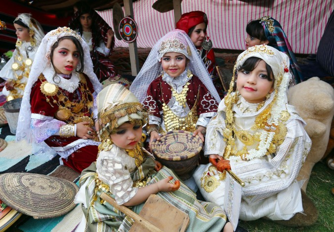 Libyan girls dressed in traditional outfits, attend a school event in the capital Tripoli on April, 27, 2017. (MAHMUD TURKIA/AFP/Getty Images)