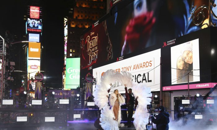 Mariah Carey performs at the New Year's Eve celebration in Times Square in New York on Dec. 31, 2016. (Photo by Greg Allen/Invision/AP)