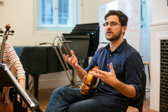 Attacca Quartet violist Nathan Schram talks about what music means to him during interview with the Epoch Times in New York City on Dec. 7, 2016. (Benjamin Chasteen/The Epoch Times)