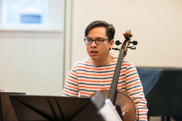 Cellist Andrew Yee rehearses with the other members in the Attacca Quartet in New York City on Dec. 7, 2016. (Benjamin Chasteen/The Epoch Times)