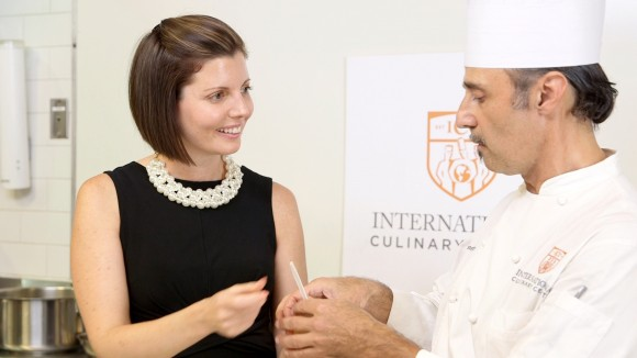Sibylle Eschapasse and chef Hervé Malivert at the International Culinary Center. (Melinda Martinez/Celebrity Taste Makers)