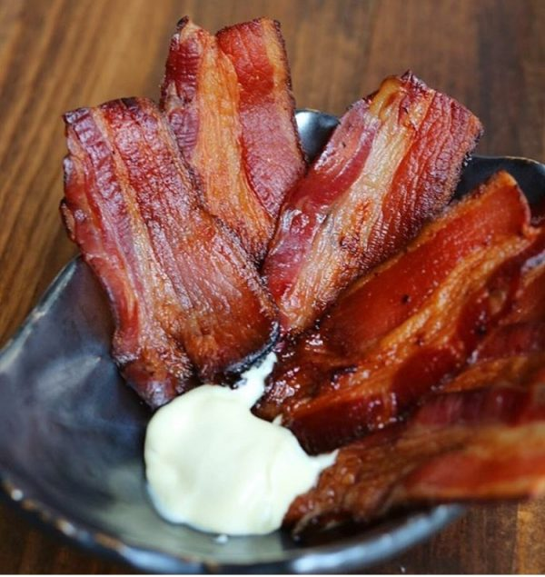Bacon strips with mayo. (@BrunchBoys)