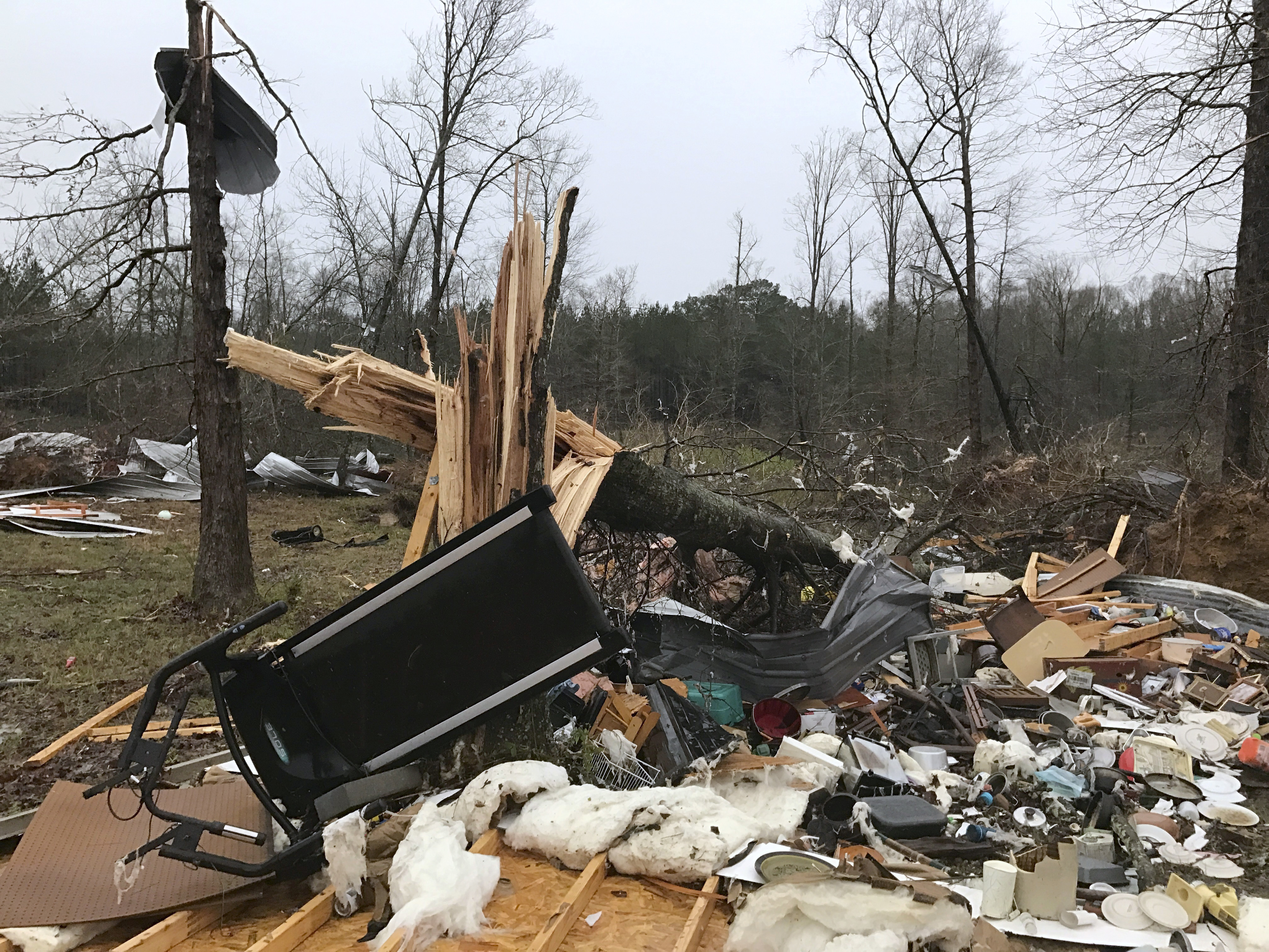 Debris lies on the ground after a storm south of Mount Olive, Miss., moved through on Jan. 2, 2017. (Ryan Moore/WDAM-TV via AP)