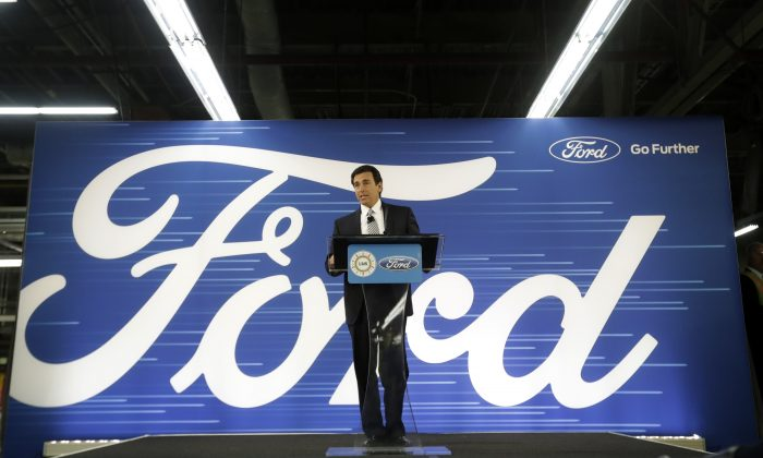 Ford President and CEO Mark Fields addresses the Flat Rock Assembly in Flat Rock, Mich., on Jan. 3, 2017. (AP Photo/Carlos Osorio)