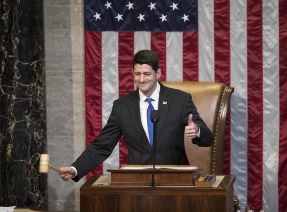 House Speaker Paul Ryan of Wis. gavels in the members of the House of Representatives after administering the oath as the 115th Congress convenes on Capitol Hill in Washington on Jan. 3, 2017. (AP Photo/J. Scott Applewhite)
