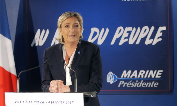French conservative presidential candidate for next spring presidential elections Marine le Pen delivers her New Year's address to the media in Paris on Jan. 4, 2017. (AP Photo/Michel Euler)