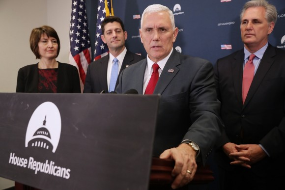 U.S. Vice President-elect Mike Pence (3rd L) joins House Republican leaders (L-R) Rep. Cathy McMorris Rogers (R-WA), Speaker of the House Paul Ryan (R-WI) and Majority Leader Kevin McCarthy (R-CA) for a news conference following a GOP conference meeting at the U.S. Capitol  January 4, 2017 in Washington, DC. Pence met with GOP members to talk about a plan for repealing and replacing Obamacare.  (Chip Somodevilla/Getty Images)