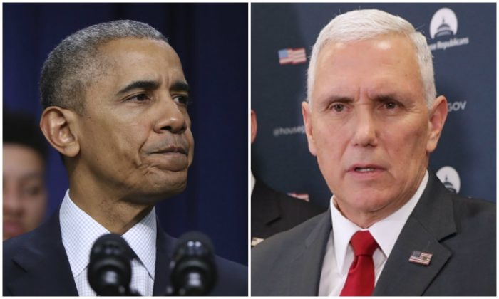 Outgoing president Barack Obama and incoming vice-president Mike Pence. (AP Photo/Manuel Balce Ceneta--Chip Somodevilla/Getty Images)