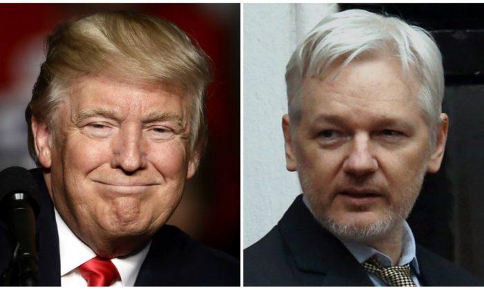 President-elect Donald Trump and Julian Assange. (AP Photo/Matt Rourke, File-Carl Court/Getty Images)
