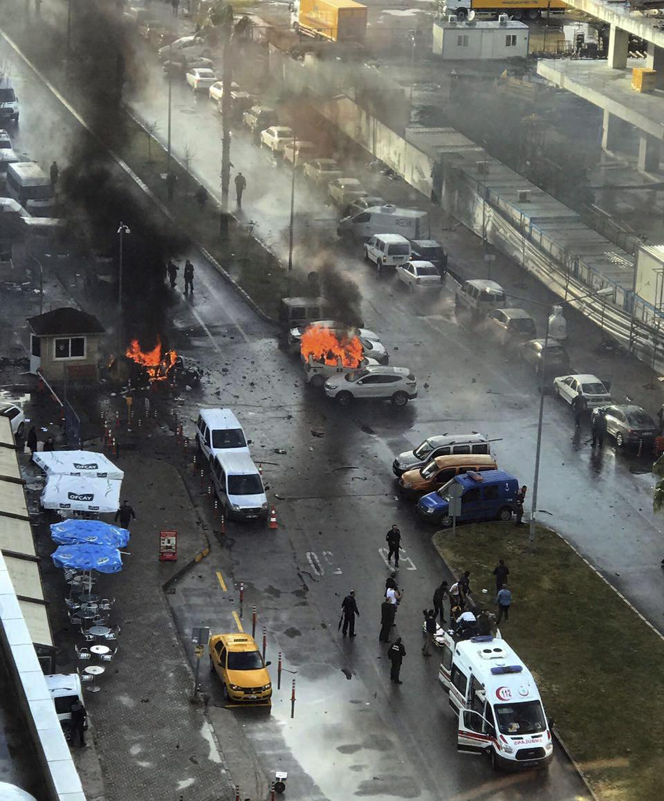Cars burn after a car bomb explosion in Izmir, Turkey on Jan. 5, 2017. (DHA-Depo Photos via AP)
