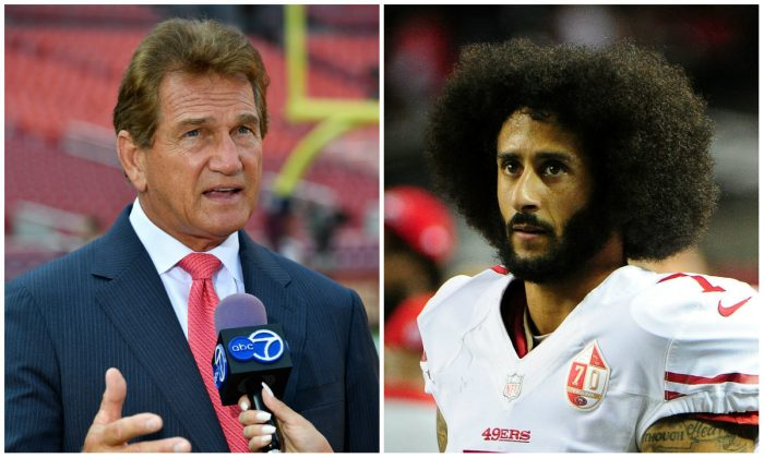 Joe Theisman; Colin Kaepernick. (Larry French/Getty Images; Scott Cunningham/Getty Images)