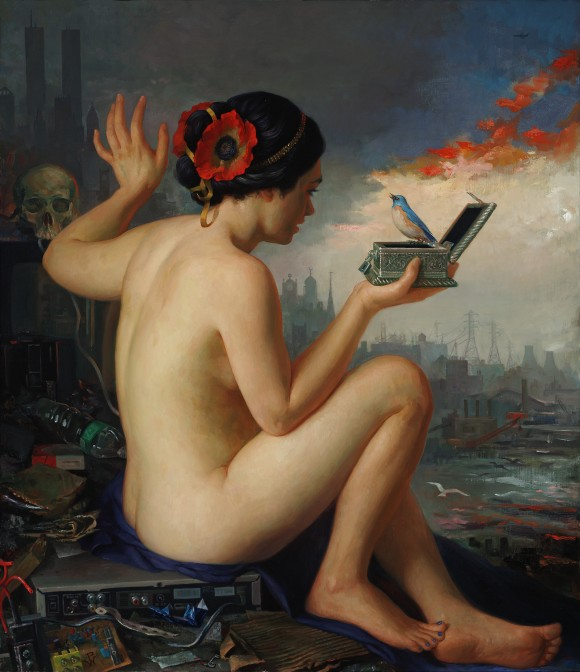 """""""Pandora,"""" 2011, by Patricia Watwood. Oil on linen, 30 by 26 inches. (Courtesy of Patricia Watwood)"""